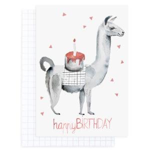 Lama mit Kuchen - Geburtstagskarte