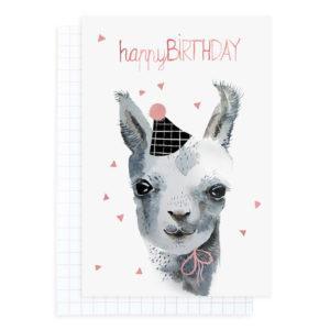 Lama mit Hut - Geburtstagskarte