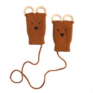 Button and Blue Teething Mittens Chestnut